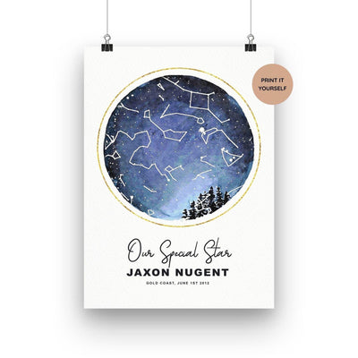 Personalised Birth Star Map Printable - Through the Milky Way