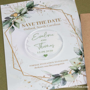 JOO - Save the Date Cards Acrylic Magnet, Modern Save the Date Magnet, Save the Date Magnet, Clear Save the Date, Custom Wedding Save the Date