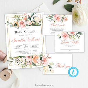 Boho Blush Pink Floral Gold Geometric Baby Shower Invitation, Printable Template, Modern Elegant Bohemian Invitation, INSTANT DOWNLOAD, TEMPLETT ET29