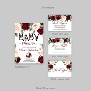 Editable Boho Blush and Burgundy Floral Letters Baby Shower Invitation Printable Template Digital, INSTANT DOWNLOAD, TEMPLETT ET26