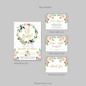 Blush Pink Floral Greenery Eucalyptus Wreath Oh Baby Shower Invitation Editable with TEMPLETT Gold Glitter Boho Invite DOWNLOAD Digital ET19