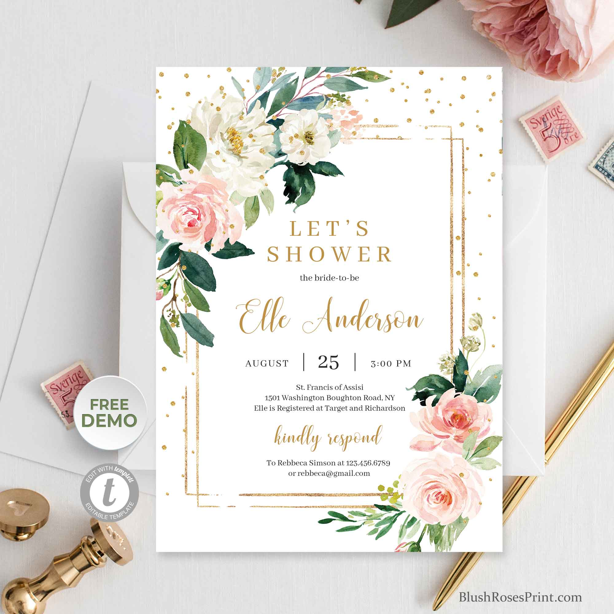 RASSY - Boho Bridal Shower Invitation Printable, Fully Editable with TEMPLETT Invitation, Blush Floral Gold Geometric Frame Invite,