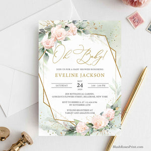 OLLIE - Editable Oh Baby Invitation Template, INSTANT DOWNLOAD, Blush Pink Baby Shower Invite, Gold Geometric, Floral Printable Baby