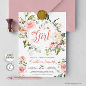POSSY - Floral Wreath It's A Girl Baby Shower Invitation, Edit with TEMPLETT Invitation, Boho Girl Baby Shower Invites