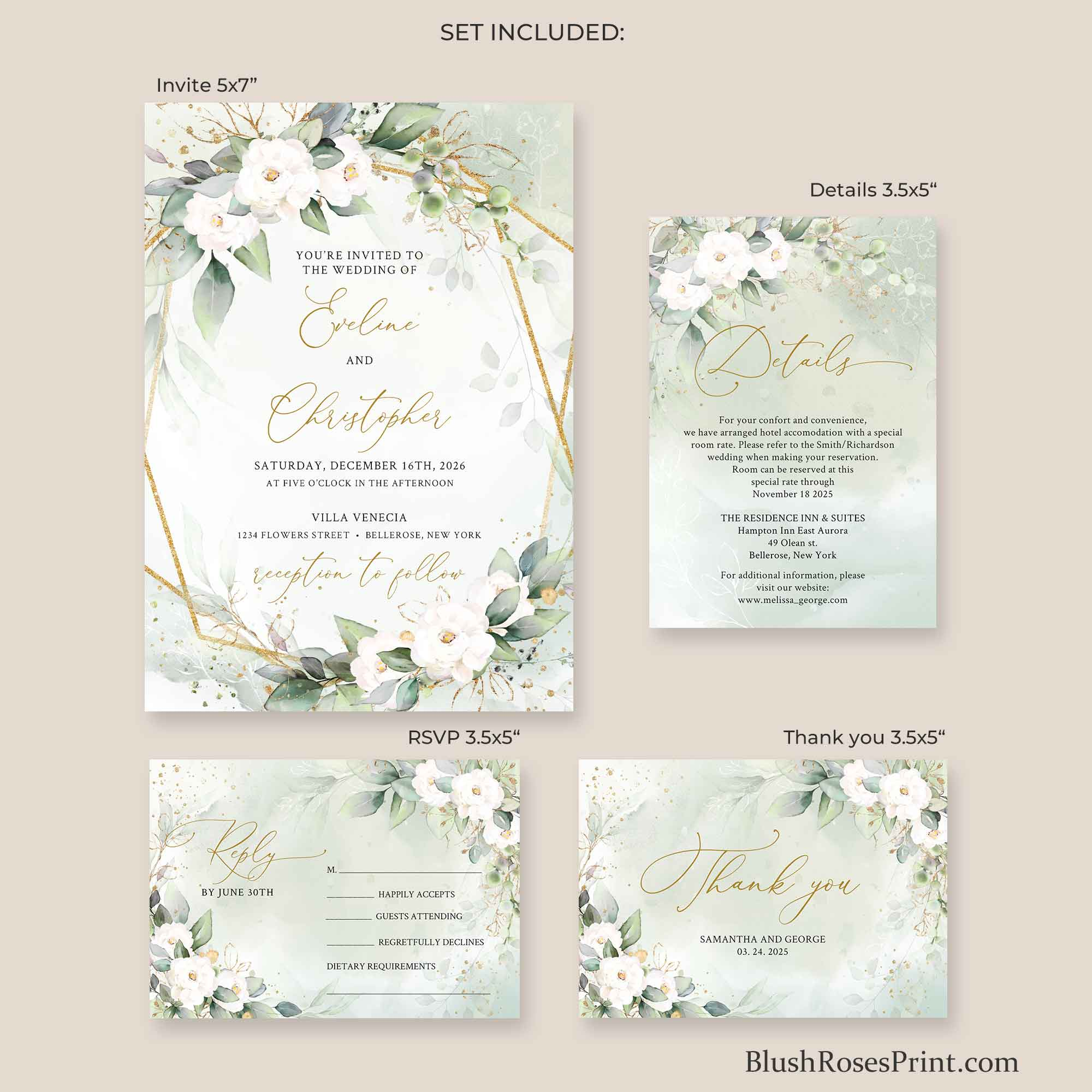 JOEY - Green and White Roses Wedding Suite, PRINTING or DIGITAL Wedding Set Greenery, Boho Green and Gold Invite, Gold Geometric Oval Frame