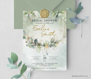 AGORA - Bridal Shower Invitation PRINTING or DIGITAL, Boho Greenery Foliage Invitation Digital, Editable Bridal Shower Invite, Green Gold
