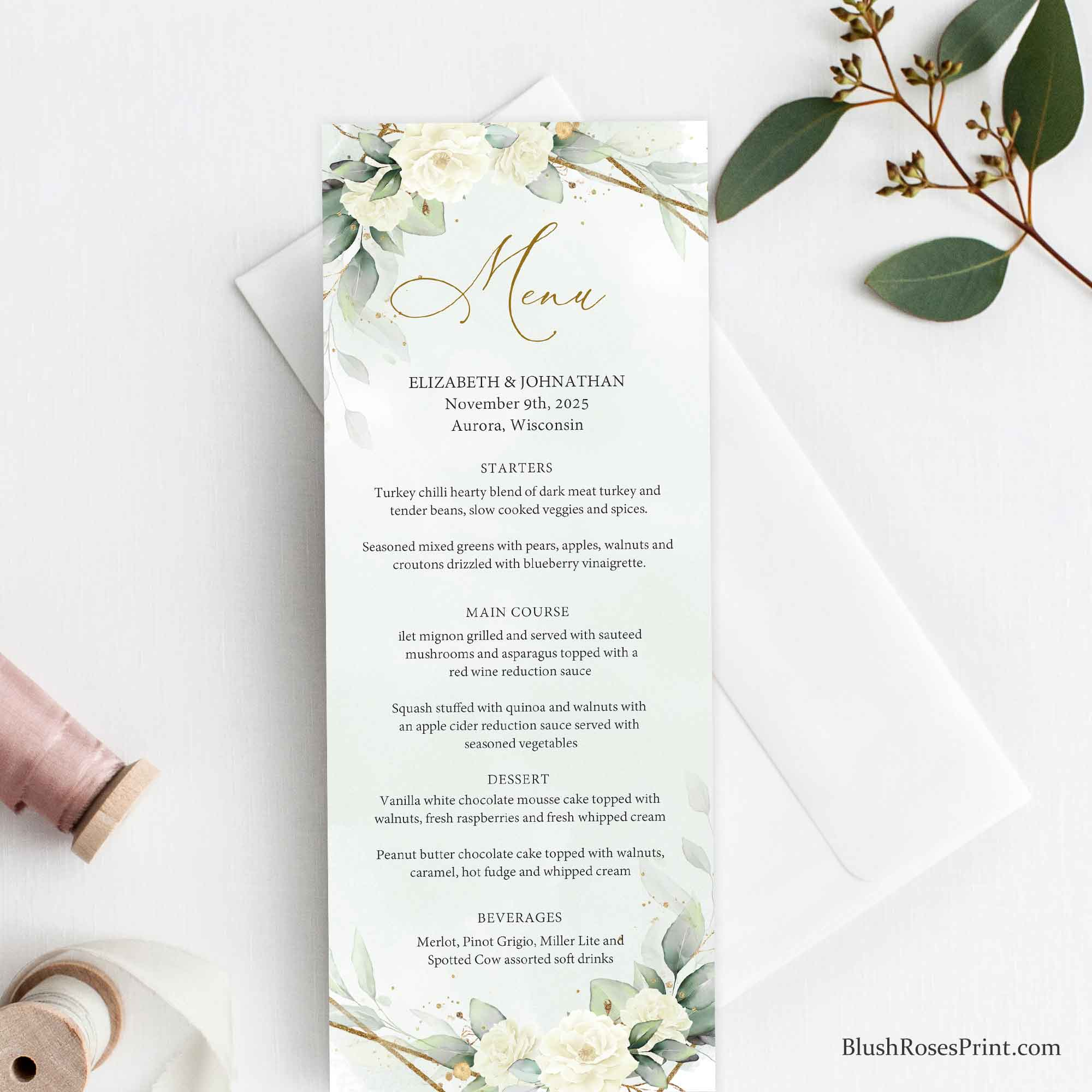 SERY - Greenery and White Roses Menu Template, DIGITAL or PRINTED Wedding Menu, Editable Menu, Gold Geometric Frame, Menu for Wedding Diy