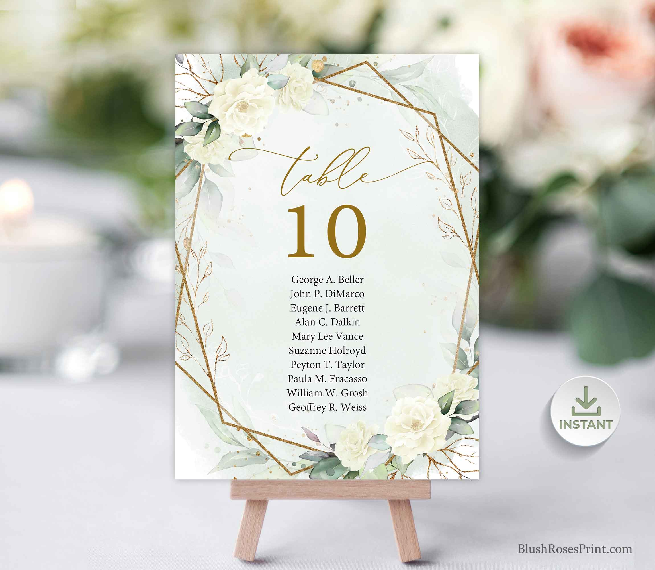 SERY - White Roses Table Number Cards, INSTANT DOWNLOAD, Eucalyptus Greenery, Printable Table Number Cards, Faux Gold Geometric Boho Wedding