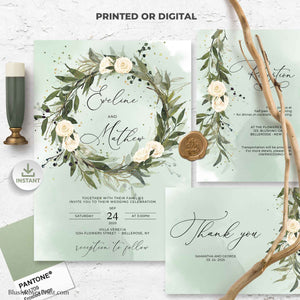 DYNA - Greenery Wreath Wedding Invitation Set, Printable Wedding Invite, DIGITAL DOWNLOAD, White Roses Wedding, Boho Invitation Template