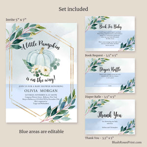 A Little Pumpkin Is On The Way, Baby Shower Printable Invitation, Eucalyptus Greenery Invitation Template, Editable Baby Shower Invite ET65