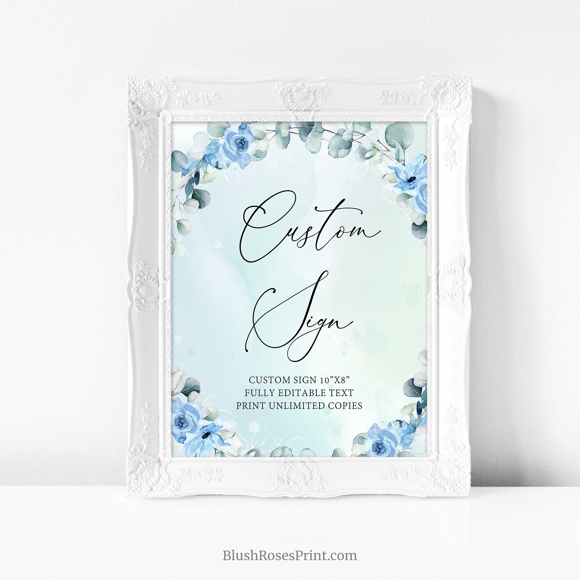 JOYS - Dusty Blue Custom Sign Template, Editable Boho Sign, INSTANT DOWNLOAD, Blue Floral Wreath Sign, Printable Sign, Eucalyptus Wreath