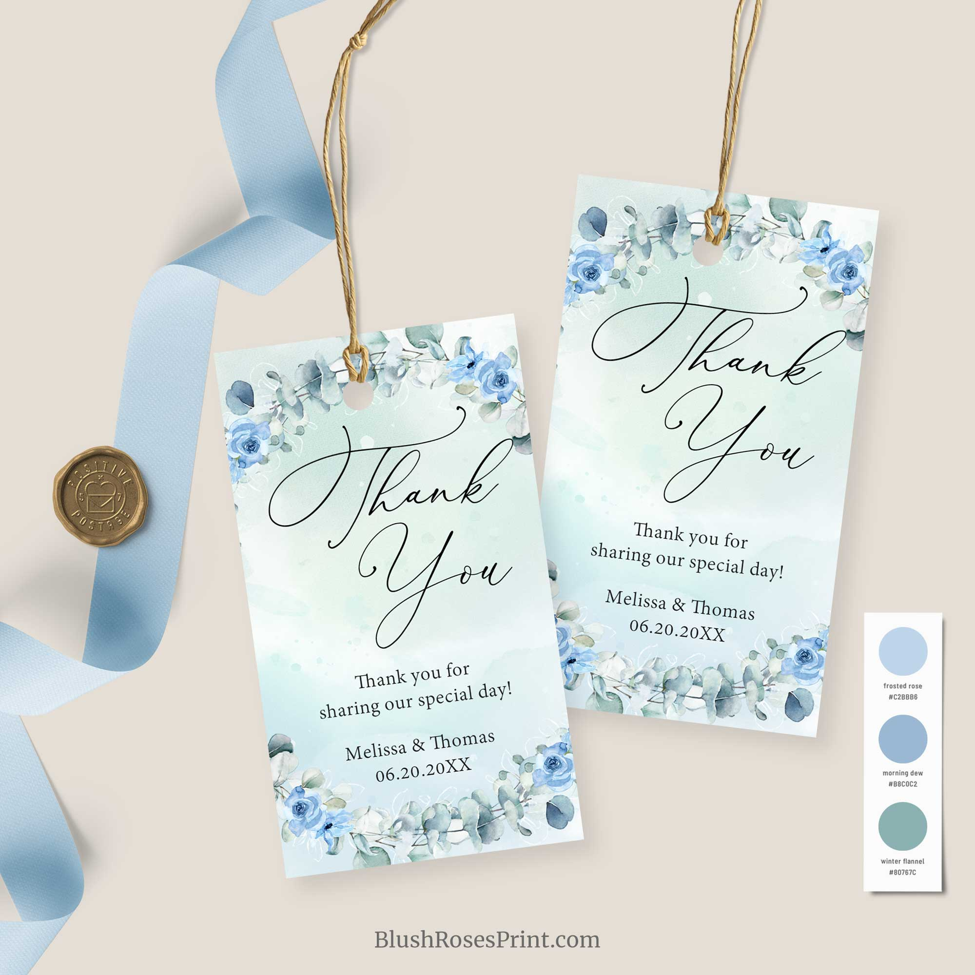 JOYS - Dusty Blue Wedding Gift Tag, INSTANT DOWNLOAD Favor Tag Printable, Wedding Thank You Tag Template, Eucalyptus Greenery Wreath