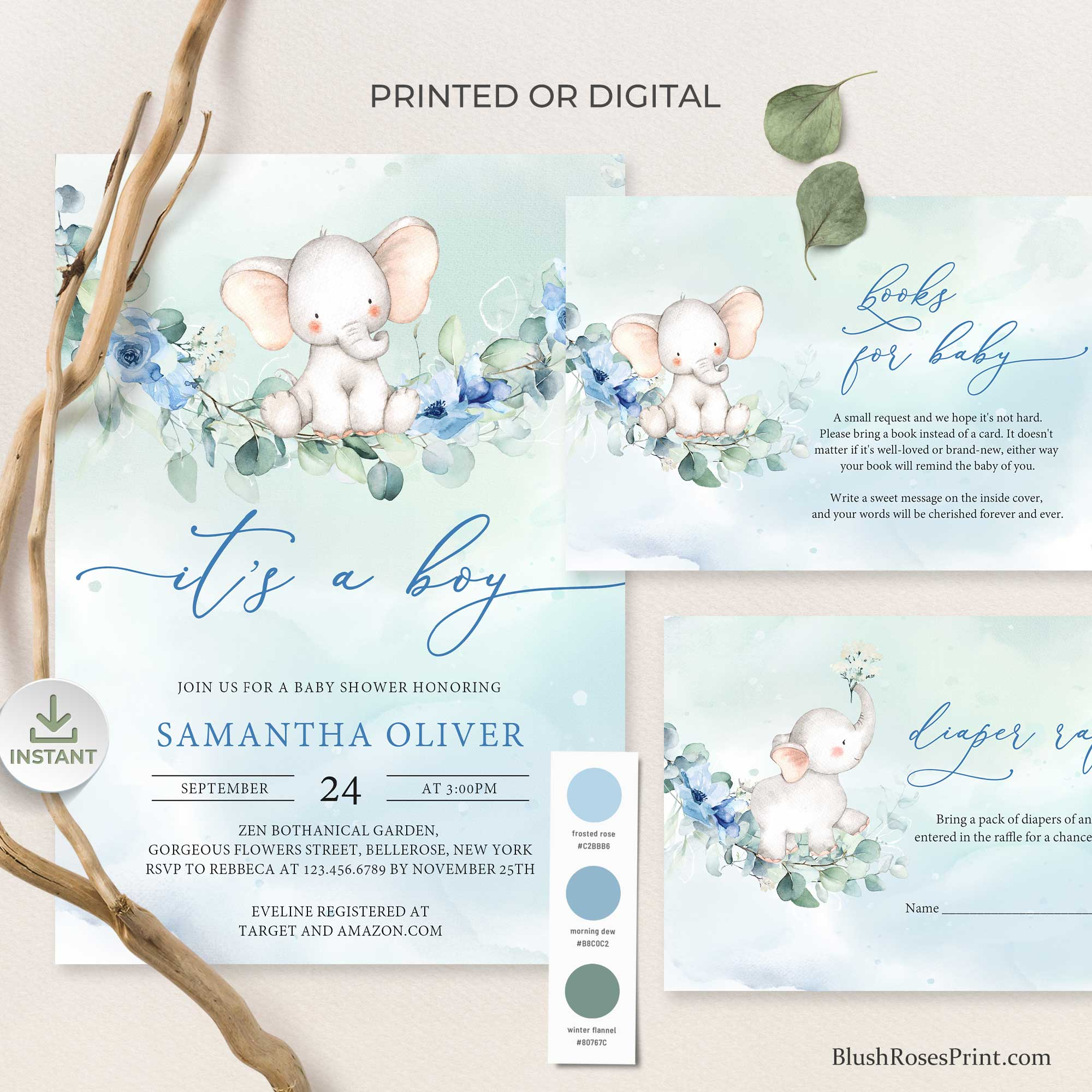 JOYS - It's A Boy Baby Shower Invite, Editable Template for Baby Shower Invitation Set, Dusty Blue Floral Baby Shower