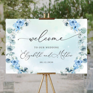 JOYS - Dusty Blue Floral Welcome Sign, Wedding Welcome Sign Large, DIGITAL DOWNLOAD Poster Template, Greenery Foliage, Eucalyptus Wreath