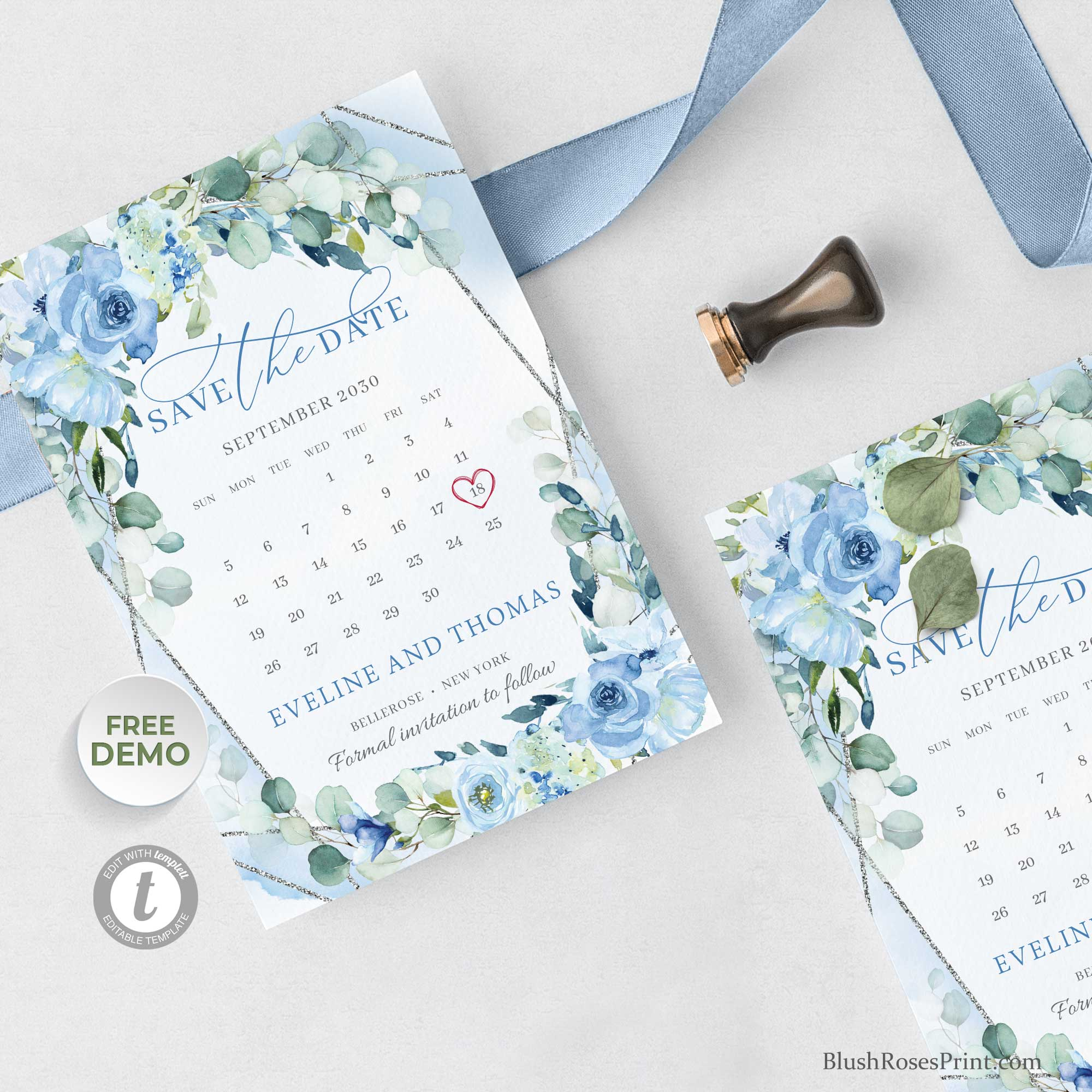BLEIN - Silver and Blue Save the Date Cards Template, PRINTED or PRINTABLE Save the Date, Dusty Blue Floral Save our Date Cards,
