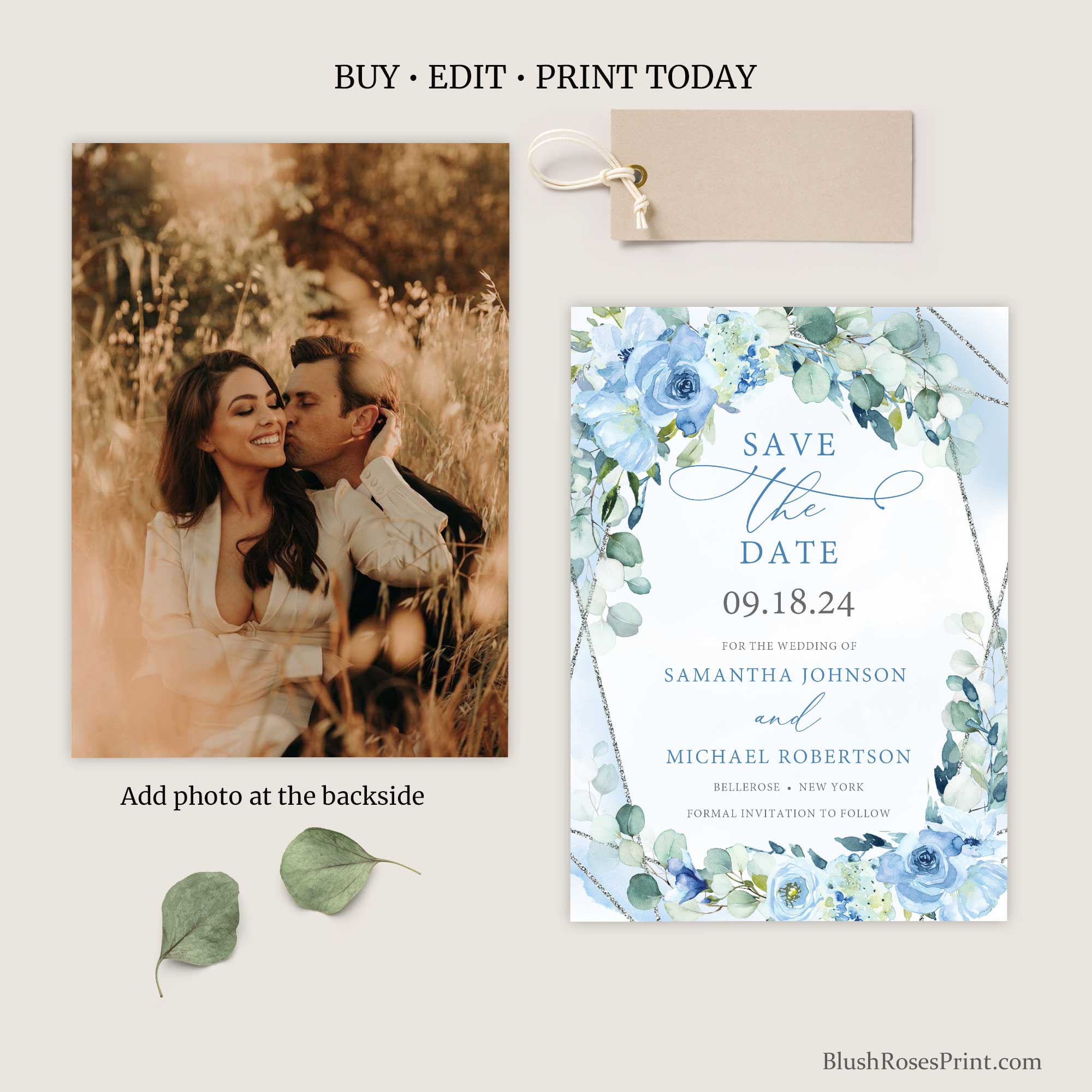 BLEIN - Editable with TEMPLETT Save the Date Cards Template, PRINTED or PRINTABLE Save the Date, Dusty Blue Floral Save our Date Cards,