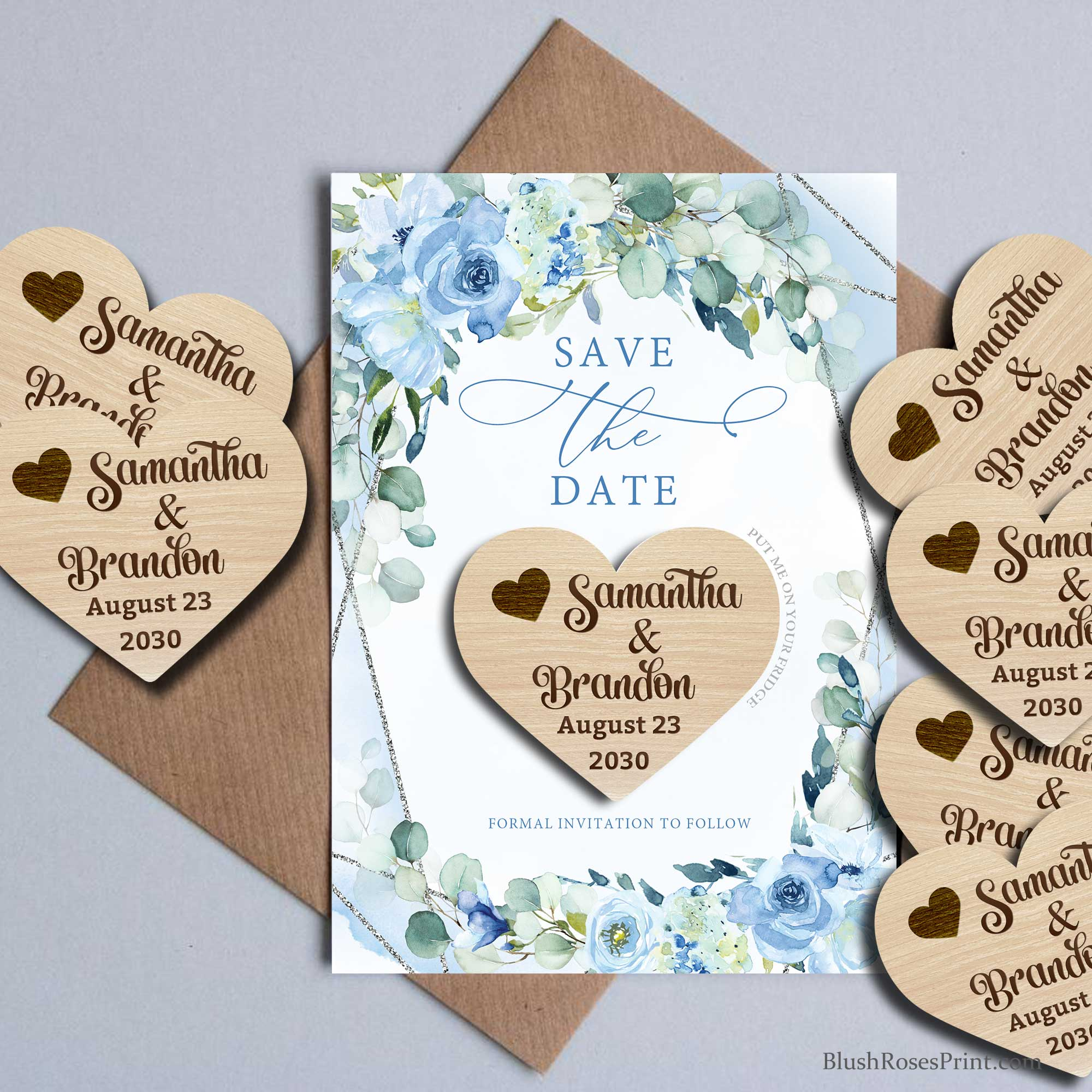 BLEIN - Blue Flowers Save the Date Card, Wooden Magnet Save The Date, Silver Geometric and Blue Flowers Wedding Save The Dates
