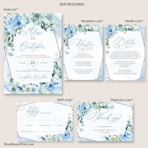 BLEIN - Dusty Blue Wedding Invitation Set, INSTANT DOWNLOAD, Editable Wedding Invitation Template, Silver Geometric Frame, Light Blue Invite
