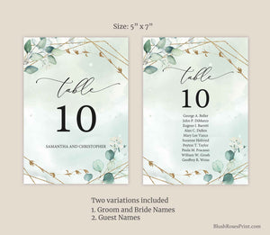 NANET - Wedding Table Number Cards Editable, INSTANT DOWNLOAD, Eucalyptus Greenery Foliage, Green and Gold Geometric, Bohemian Wedding