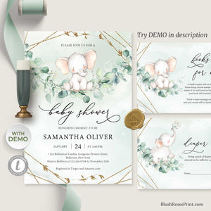 NANET - Cute Elephant Baby Shower Invitation, INSTANT DOWNLOAD, Greenery Eucalyptus Invite, Green and Gold Geometric, Boho Baby Shower Set