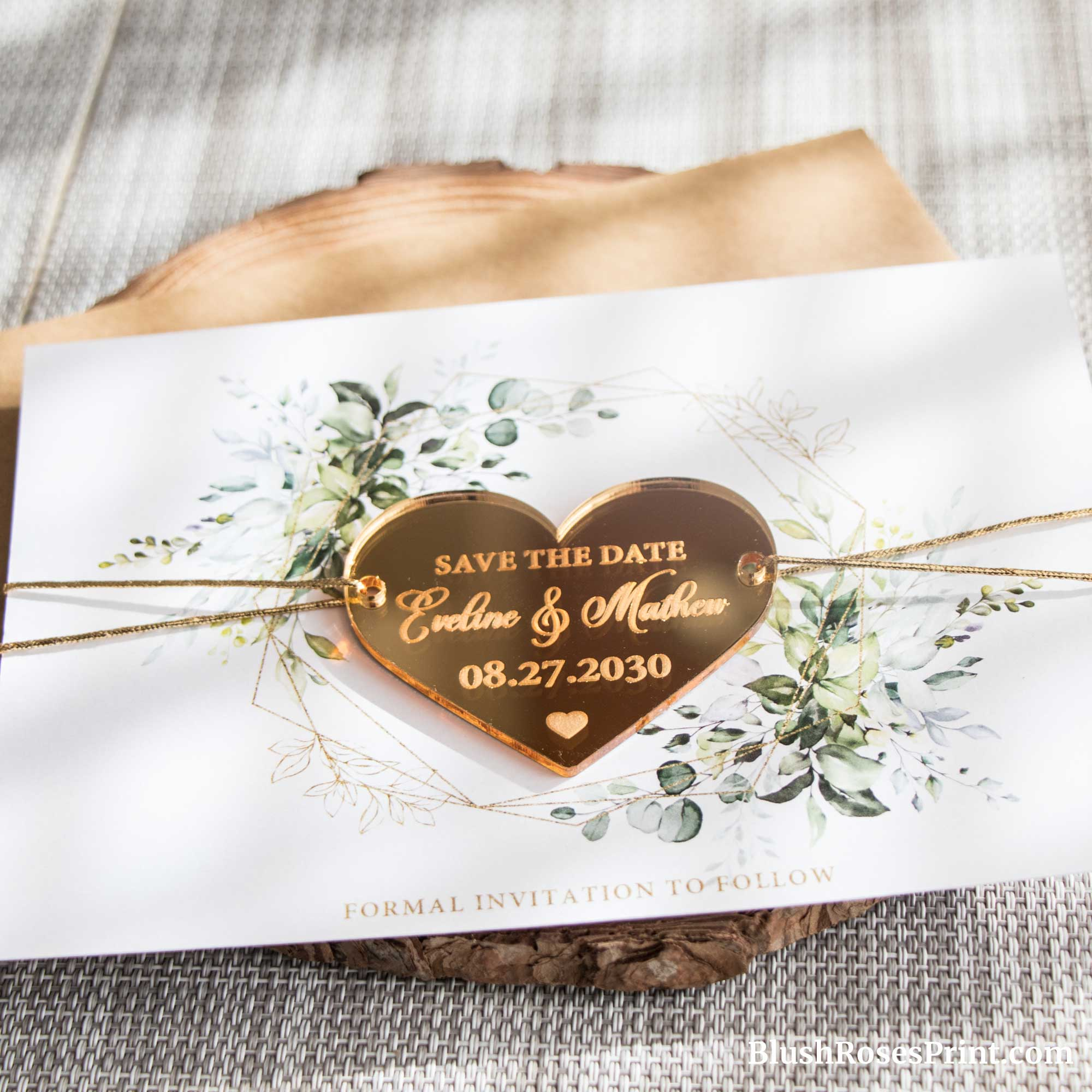 ROMENA - Gold Mirror Heart Magnet Save the Date Cards, Greenery Foliage Boho Save the Date, Gold Mirror Magnet, Custom Plexi Mirror Heart Magnet