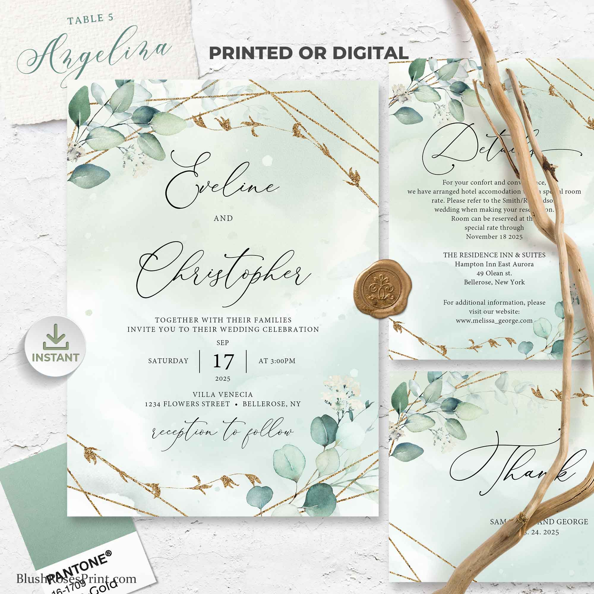NANET - Boho Greenery Bridal Shower Invitation, PRINTING or DIGITAL Template for Bridal Shower, Green and Faux Gold Geometric Invite Diy