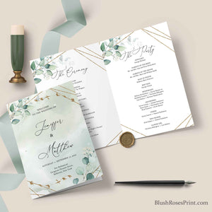 NANET - Wedding Program Folded Greenery, PRINTING or DIGITAL Program, Green and Gold Program Template, Editable Ceremony Program Boho