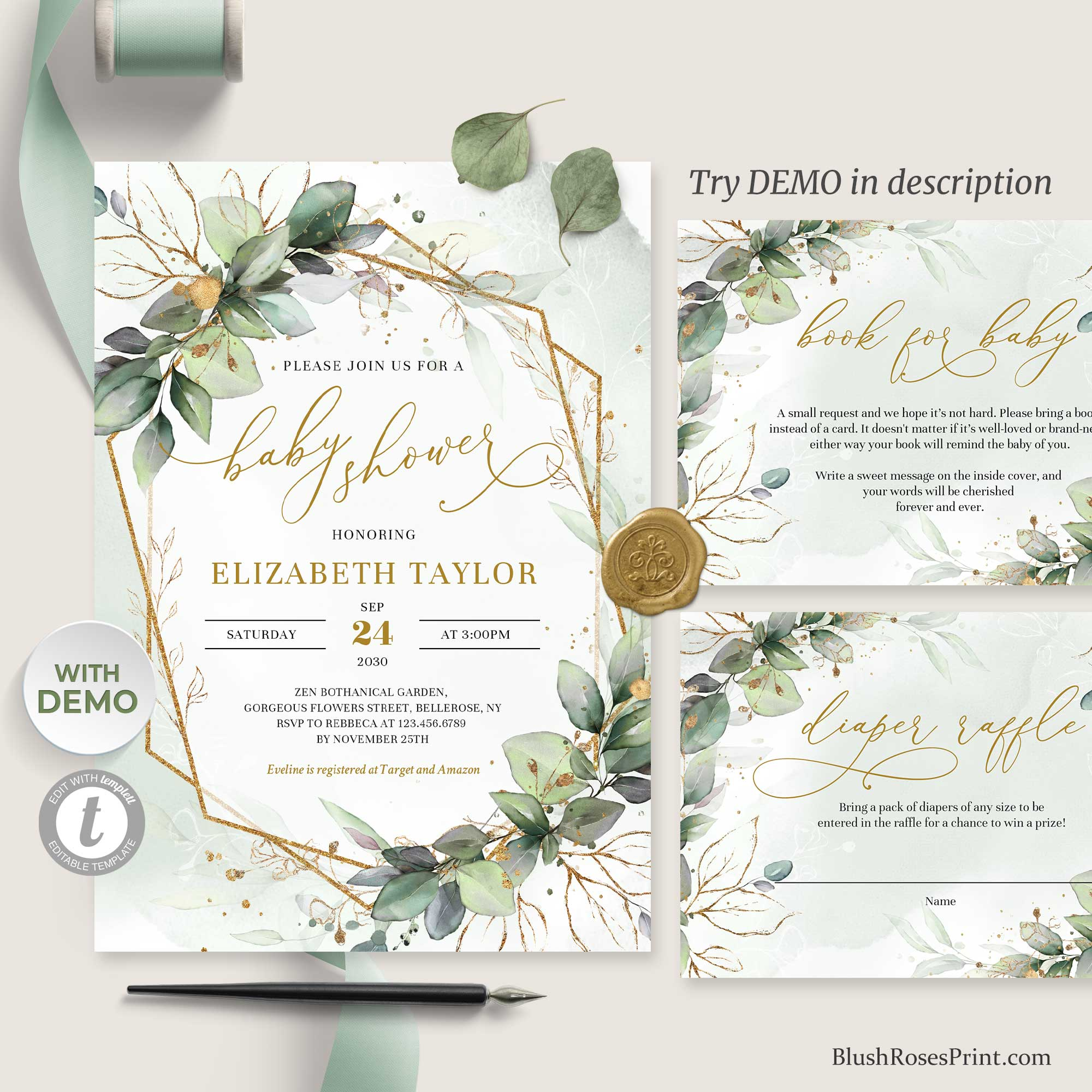 JOO - Editable with TEMPLETT Baby Shower Set, Digital Template for Baby Shower, Boho Invitation Greenery, Green and Gold Geometric Baby Shower, DOWNLOAD