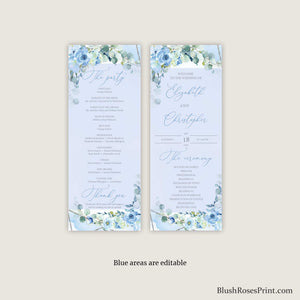 BLEIN - Wedding Program Printable, DIGITAL or PRINTED Program, Dusty Blue Floral Program, Silver Geometric Ceremony Program