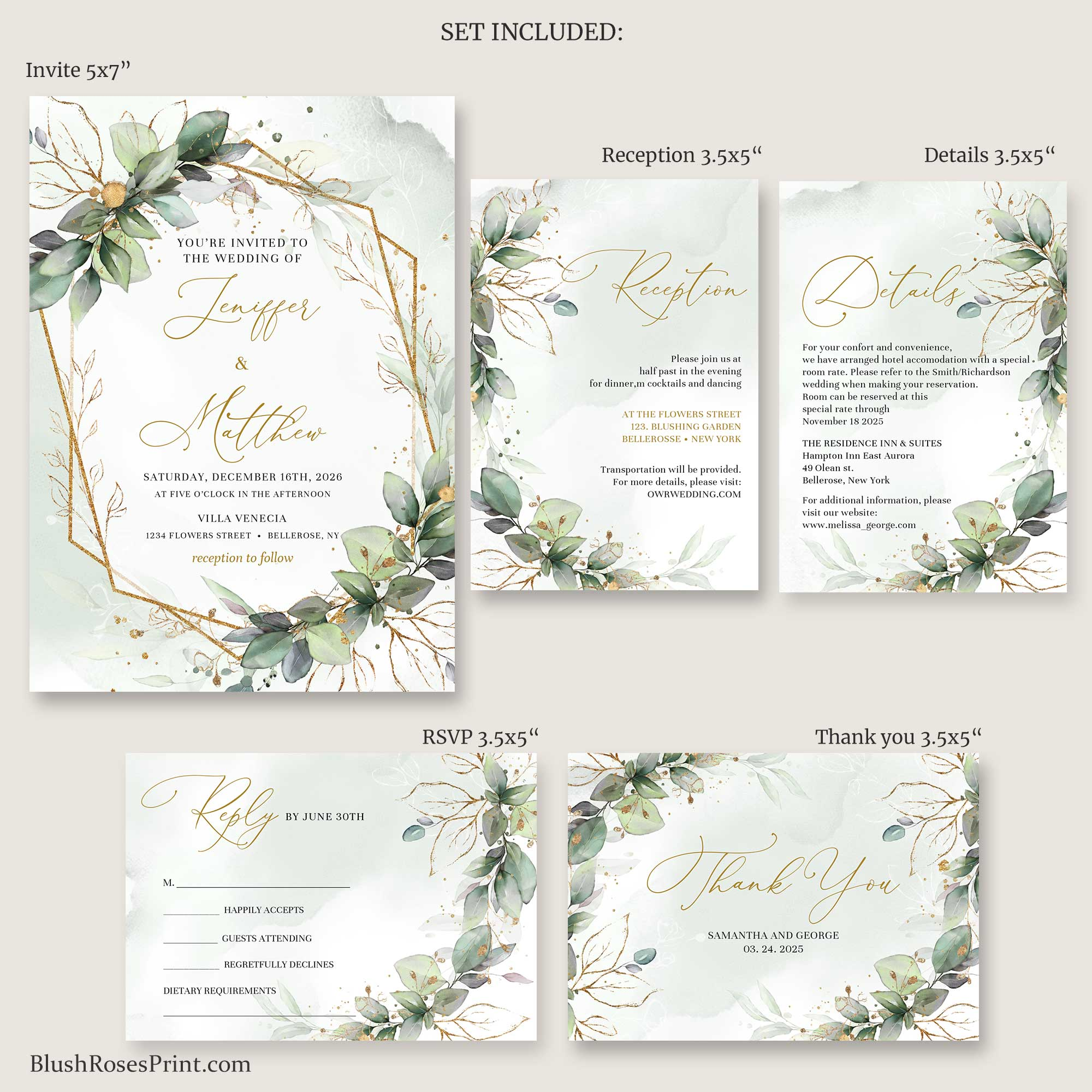 JOO -Rustic Greenery Wedding Suite, DIGITAL or PRINTING Wedding Set, Greenery Foliage Wedding Invite, Green and Faux Gold, Gold Geometric