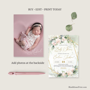 OLLIE - Blush Pink Baby Shower Invitation, INSTANT DOWNLOAD, Editable Baby Shower Invite, Gold Geometric, Floral Printable Baby Invitation
