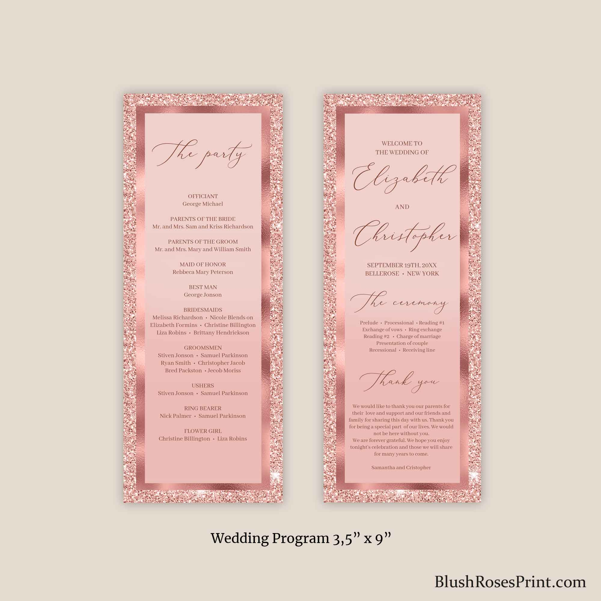 JAMY - Editable Wedding Program Rose Gold Glitter, PRINTING or DIGITAL Templates, Rose Gold Foil Ceremony Program, Bling Glamour Agenda Diy