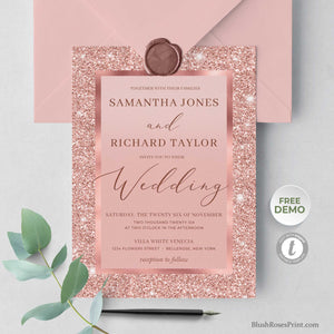 JAMY - Rose Gold Wedding Invitations Printed or Digital, Glamour Wedding Suite, Printable Wedding Invite, Rose-Gold Glitter Wedding Pack