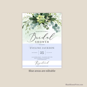 MOORY - Succulent Bridal Shower Invitation, Boho Greenery Bridal Invite, INSTANT DOWNLOAD Eucalyptus Bridal Shower Printable Templett Diy