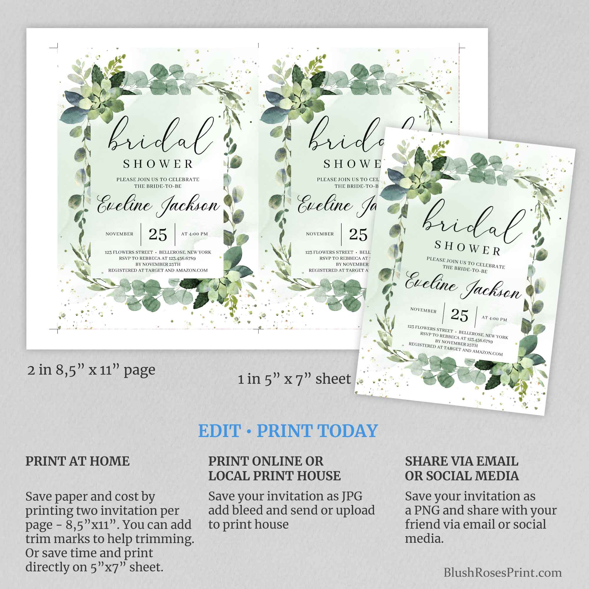 MOORY - Editable Bridal Shower Invitation, Succulent Invitation Printable,TEMPLETT,  INSTANT DOWNLOAD, Eucalyptus Greenery Bridal Shower, Green Leaves