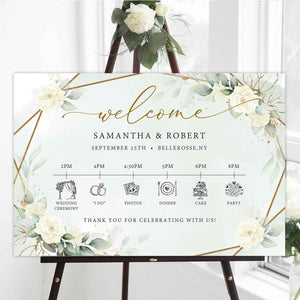 SERY - White Roses Timeline Sign, INSTANT DOWNLOAD Timeline Template, Wedding Welcome Porch Sign, Editable Timeline Signage Boho, Greenery