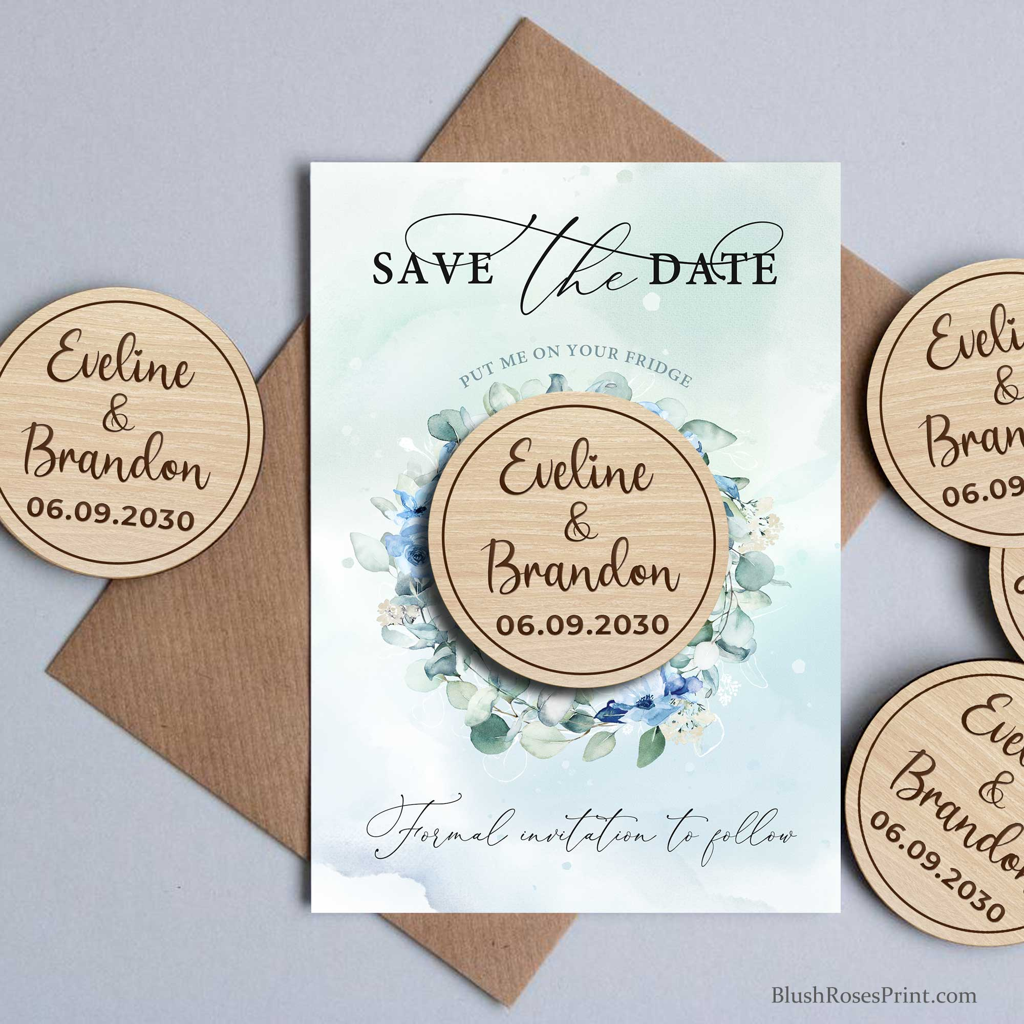 JOYS - Wood Magnet Save The Date Card, Dusty Blue Roses Save our Date Cards, Printed Wooden Magnet Save The Date, Wedding Save The Date