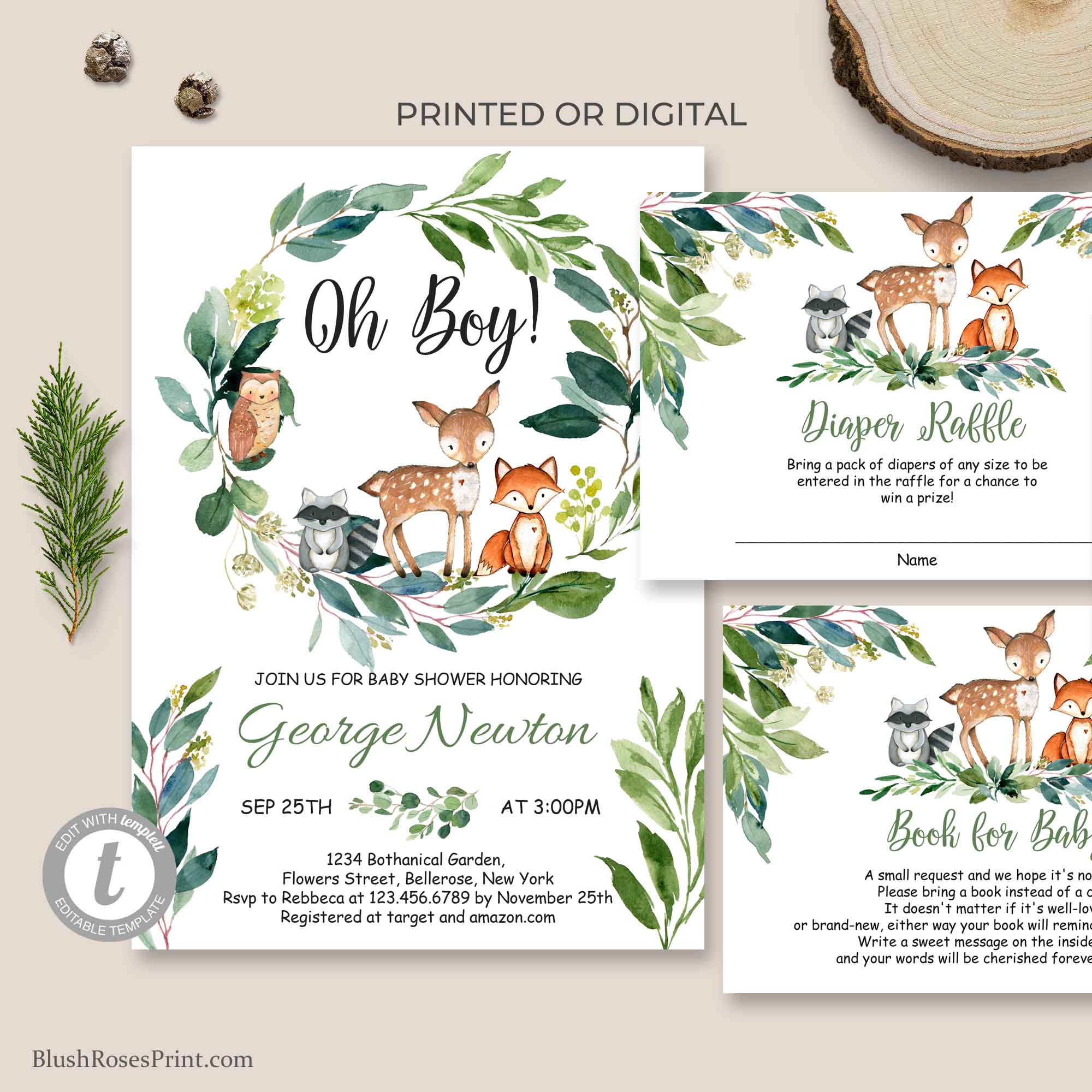 Woodland Baby Shower Invitation, Oh Boy Invitation Printable, Editable With TEMPLETT, Eucalyptus Greenery Baby Shower INSTANT DOWNLOAD BS110