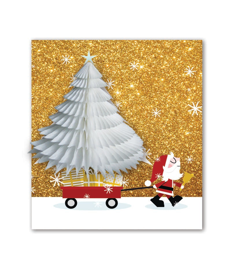 PaperJoy Xmas: Santa Trolley White Tree