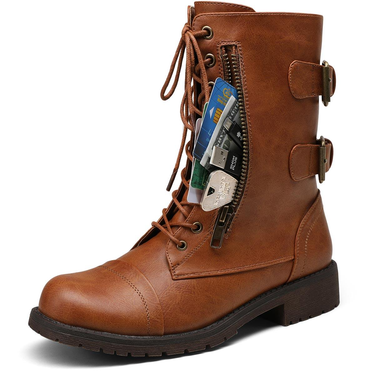 Mid Calf Women Boots Wallet Pocket | Vepose - Top shoes club