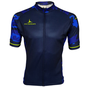 Blue Camo/Lime Full Zip Short Sleeve Cycling Jersey (Fast Delivery)