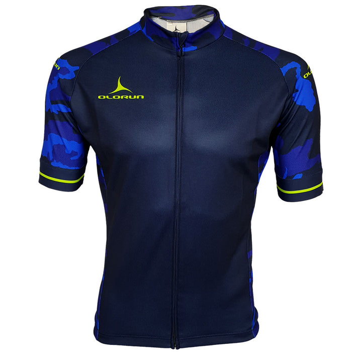 Blue Camo/Yellow Full Zip Short Sleeve Cycling Jersey (Fast Delivery)