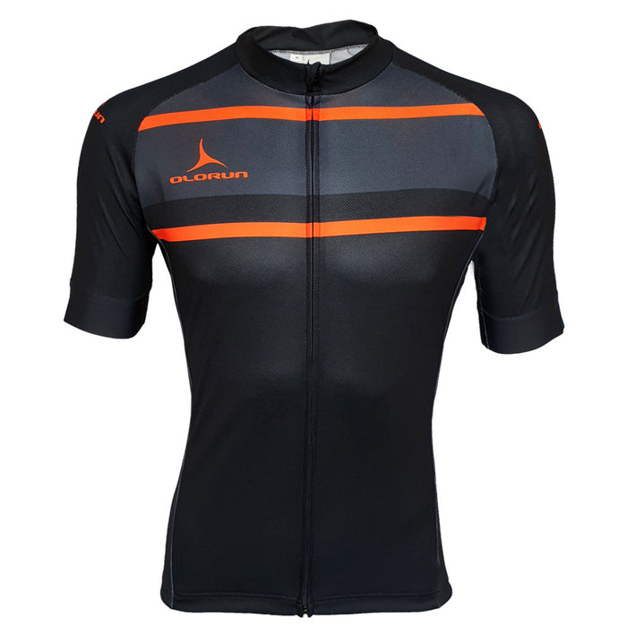 Black/Safety Orange Full Zip Short Sleeve Cycling Jersey (Fast Delivery)