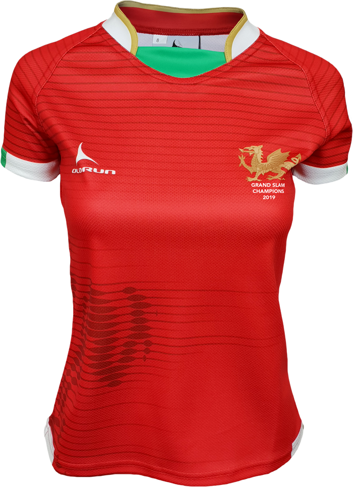 Women's Olorun Wales Contour Grand Slam 2019 Rugby Shirt (Home - Red Design)