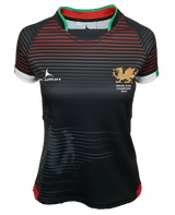 Women's Olorun Wales Contour Grand Slam 2019 Rugby Shirt (Away - Black Design)