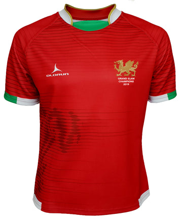 Olorun Contour Wales Grand Slam 2019 Rugby Shirt ( Home Design - Red )