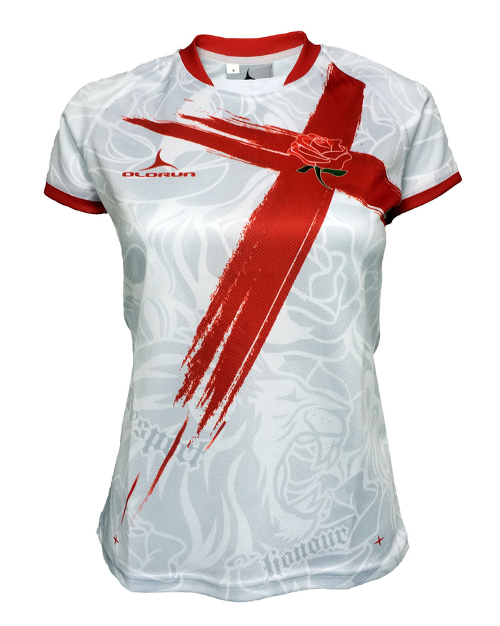 Women's Pride of England Rugby Shirt (Home - White Design)