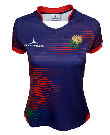 Women's Olorun England Contour Home Nations Rugby Shirt (Away - Navy Design)