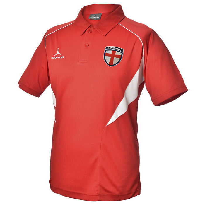 Olorun Flux England Football Polo Shirt - Red/White