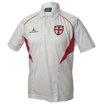 Olorun Flux England Football Polo Shirt - White/Red/Red
